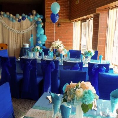 украса за рожден ден и кръщене в синьо