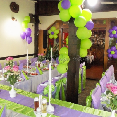 Декорация за 50-годишнина в зелено и лилаво