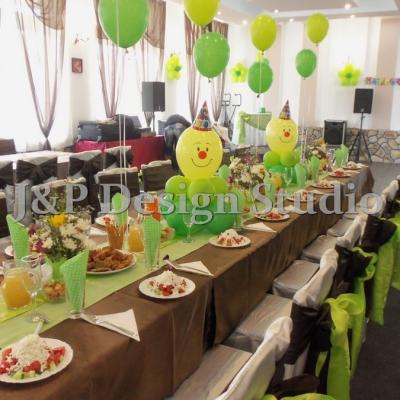 Украса за детски рожден ден в зелено и жълто