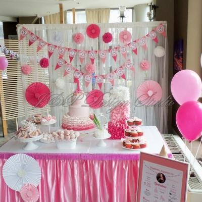 Украса за детски рожден ден в розово Vanilla Garden