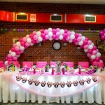 Украса за детски рожден ден в цикламено и розово