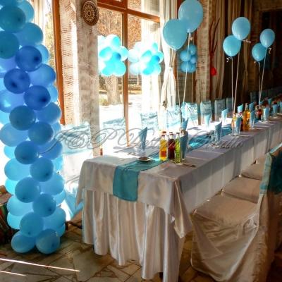 Декорация за рожден ден и кръщение на момче. Празнична украса в синьо.