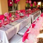 Украса за рожден ден в цикламено и розово, Анибос