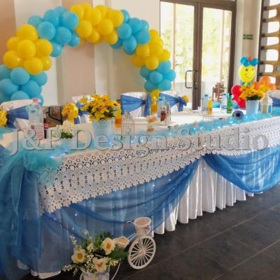 Декорация за кръщене в синьо и жълто