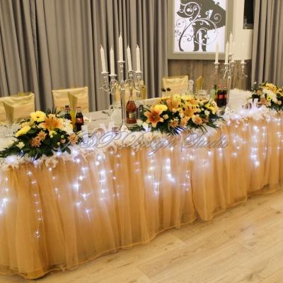Сватбена декорация в злато и екрю. Ресторант Акорд. Хотел Акорд. София