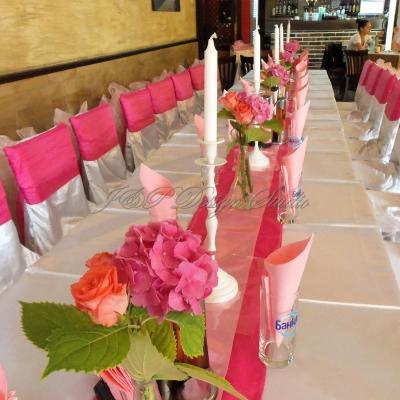 Украса за кръщене в цикламено и розово