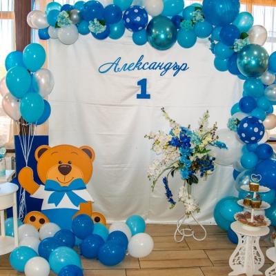 украса за първи рожден ден на момче в синьо