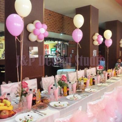 украса за рожден ден в розово и екрю