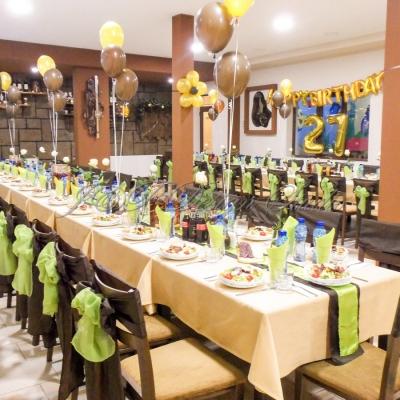 украса за рожден ден в кафяво, злато и зелено