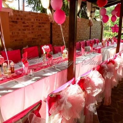 Украса за рожден ден в цикламено и розово