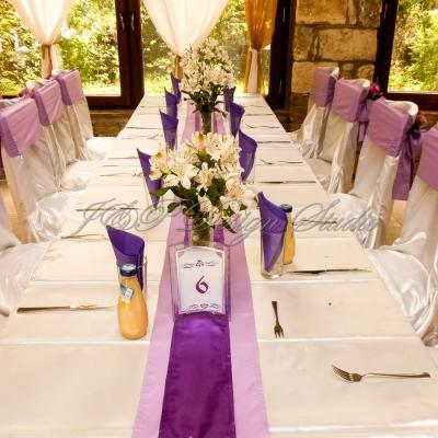 Сватбена декорация в лилаво