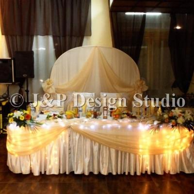 Украса за сватба в златисто